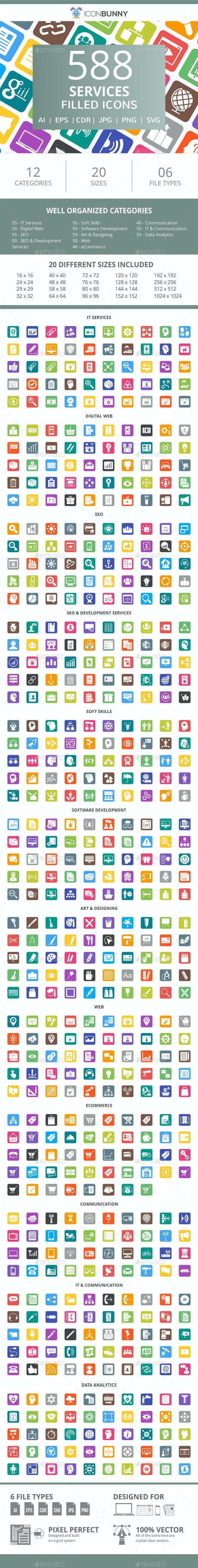 588 Services Flat Round Corner Icons - Icons