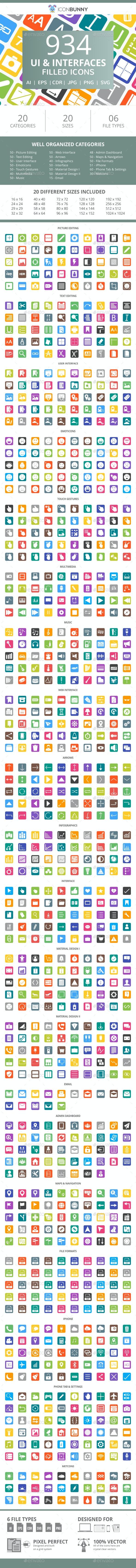 934 UI & Interfaces Flat Round Corner Icons - Icons