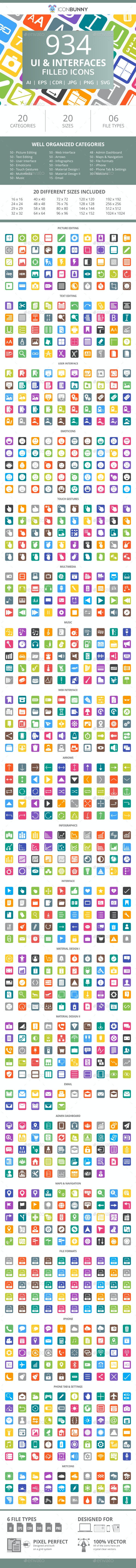 934 UI & Interfaces Flat Round Corner Icons - Icons