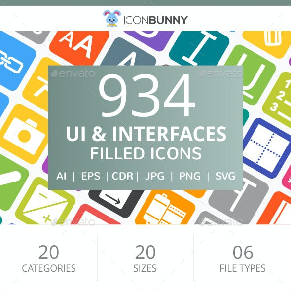 934 UI & Interfaces Flat Round Corner Icons
