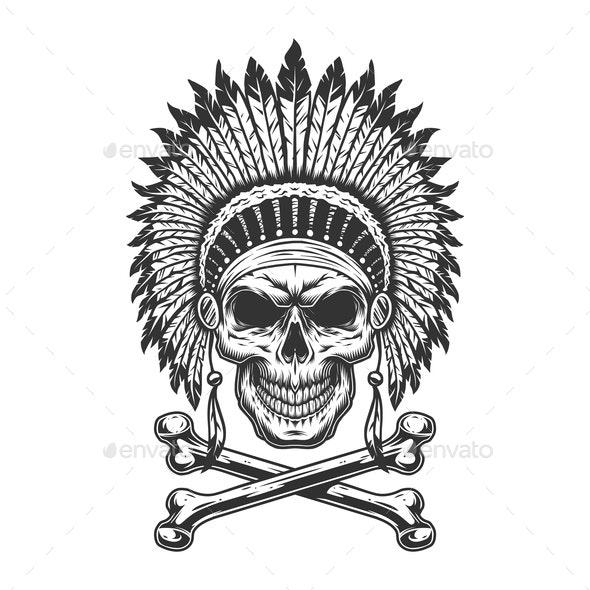 Vintage Chief Skull - Miscellaneous Vectors