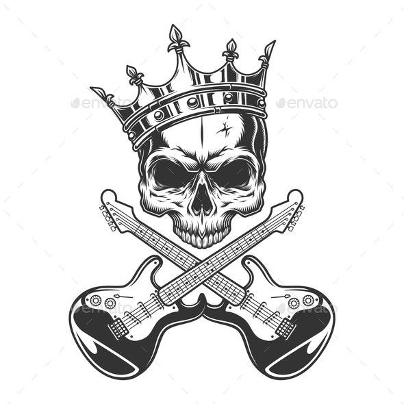 Vintage Rocker Skull in Crown - Miscellaneous Vectors