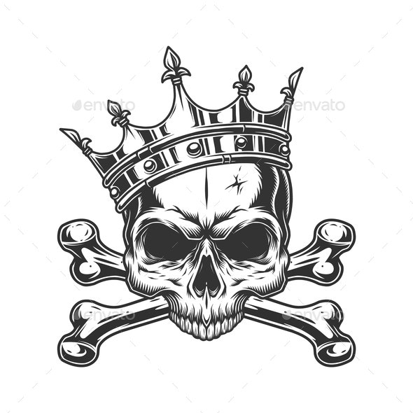 Skull in Royal Crown - Miscellaneous Vectors