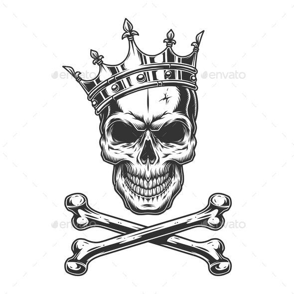 Vintage Skull in Royal Crown - Miscellaneous Vectors