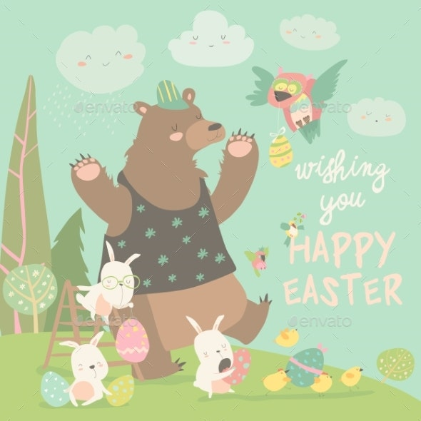 Bear and Happy Rabbits Celebrating Easter - Miscellaneous Seasons/Holidays