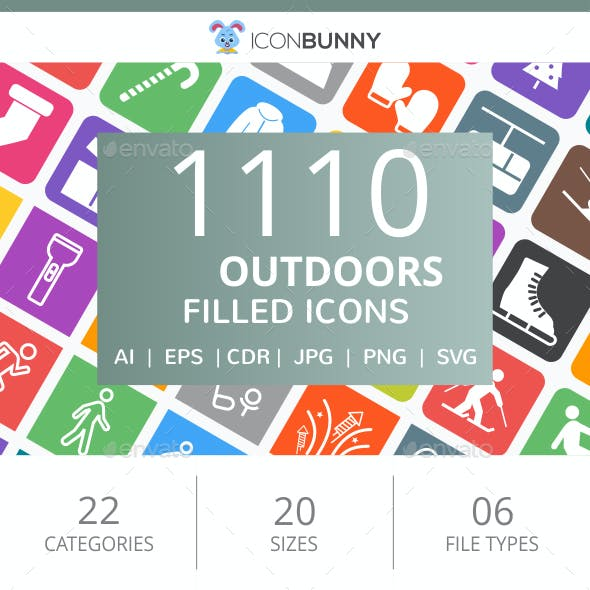 1110 Outdoors Flat Round Corner Icons