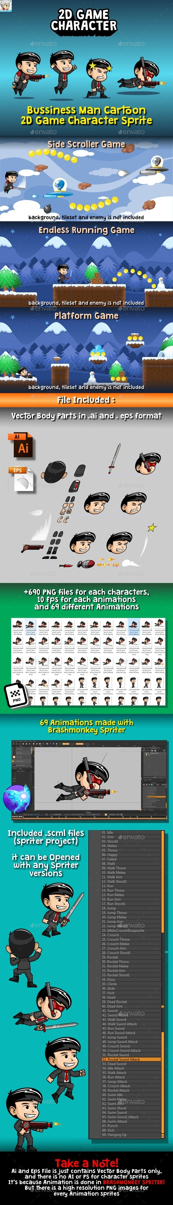 Bussiness Man Cartoon 2D Game Character Sprite - Sprites Game Assets