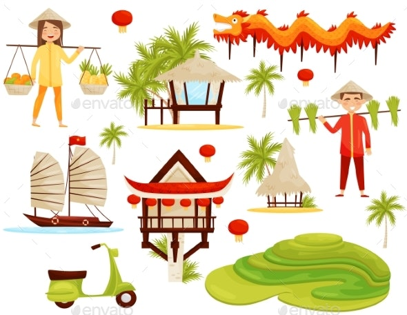Flat Vector Set of Cultural Symbols of Vietnam - Man-made Objects Objects