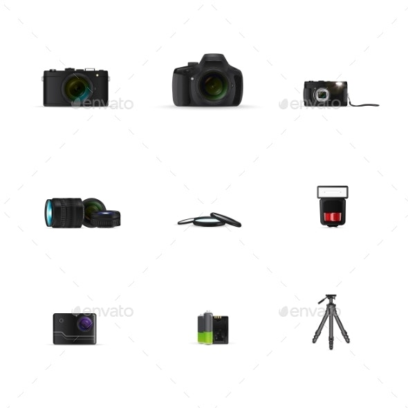 Digital Cameras of Various Types and Accessories - Man-made Objects Objects