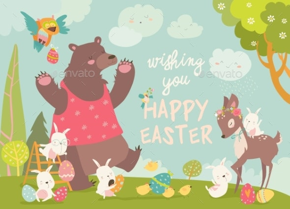 Bear with Rabbits and Deer - Miscellaneous Seasons/Holidays