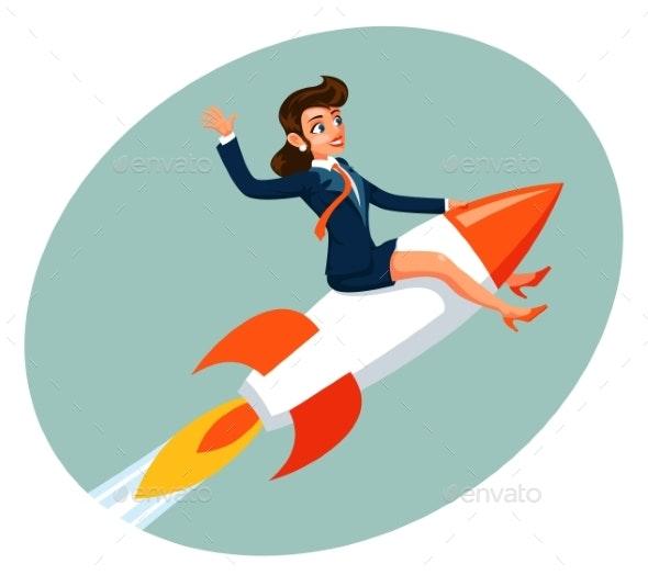 Businesswoman Space Rocket Ship Female Business - Miscellaneous Vectors