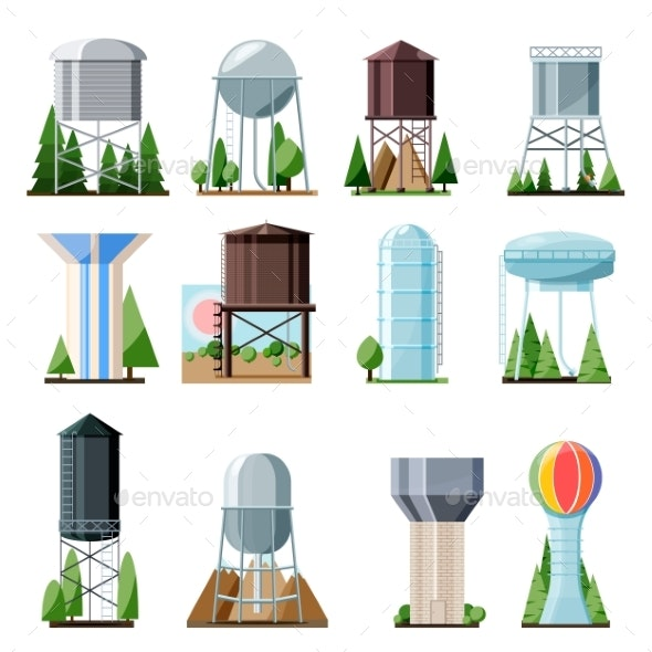 Water Tower Vector Tank Storage Watery Resource - Industries Business