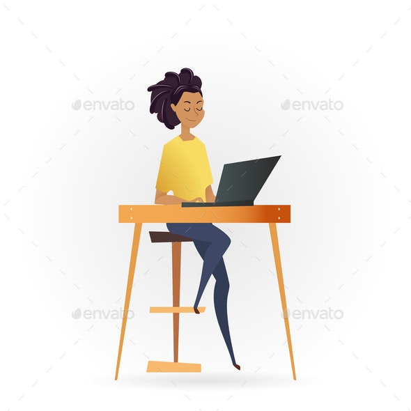 Freelancer Woman Working by Computer on Table - People Characters