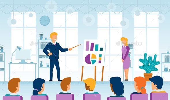 Business Coaching and Seminar Lecture Flat Vector - People Characters