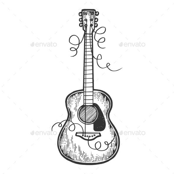 Guitar Torn Strings Engraving Vector Illustration - Miscellaneous Vectors
