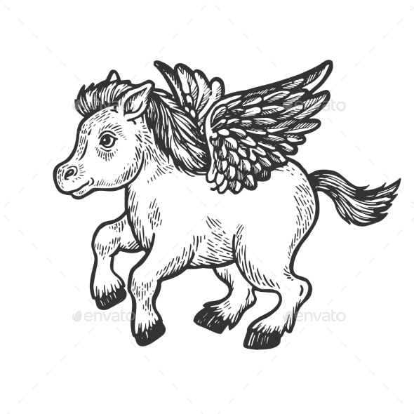 Angel Flying Baby Pony Engraving Vector - Miscellaneous Characters