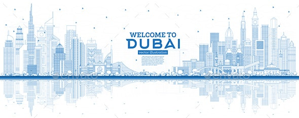 Outline Welcome to Dubai UAE Skyline - Buildings Objects