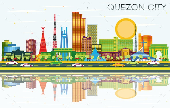 Quezon City Philippines City Skyline with Color - Buildings Objects