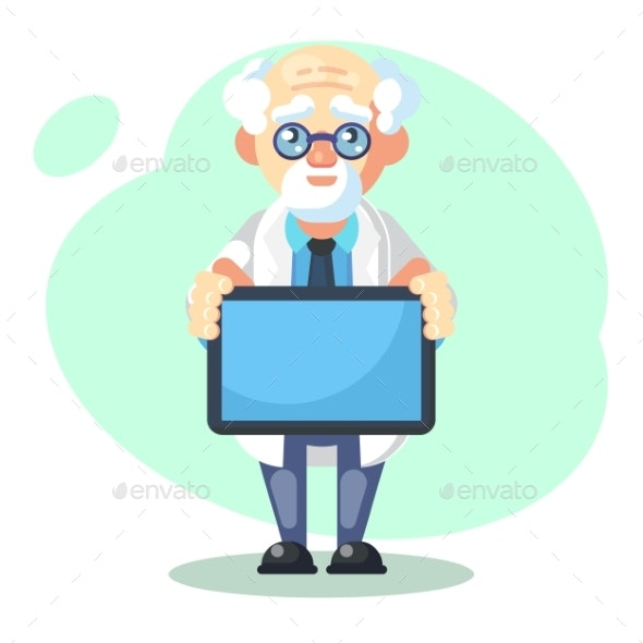 Crazy Scientist with Message Text Board - People Characters