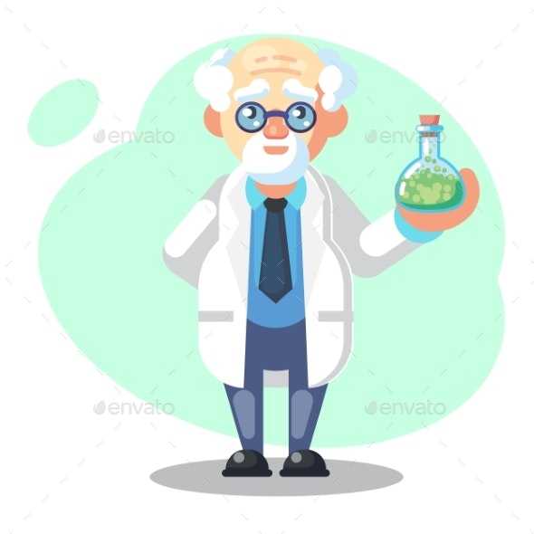 Old Scientist with Flask - Miscellaneous Conceptual