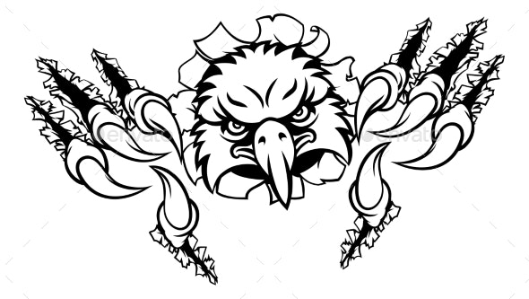 Eagle Cartoon Sports Mascot Ripping Background - Sports/Activity Conceptual