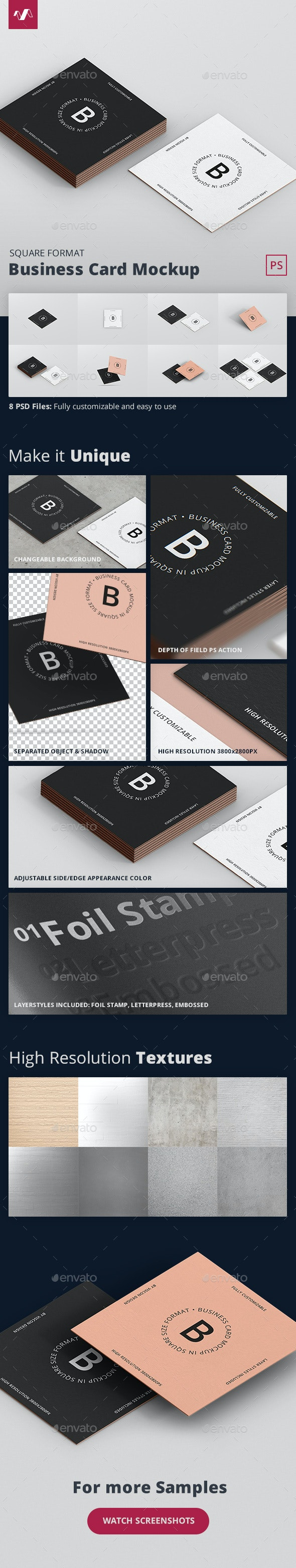 Business Card Mockup Square Format - Business Cards Print