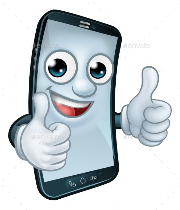Mobile Phone Thumbs Up Cartoon Mascot - Computers Technology