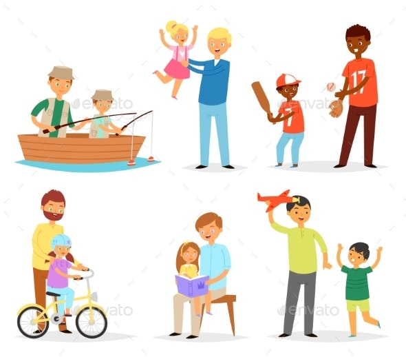 Father and Child Vectors - People Characters
