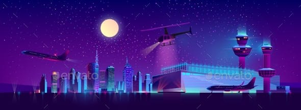 Vector Night Airport with Plane and Helicopter