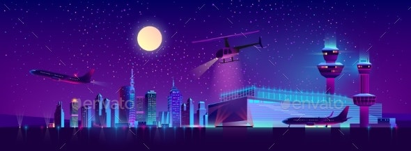 Vector Night Airport with Plane and Helicopter - Backgrounds Decorative