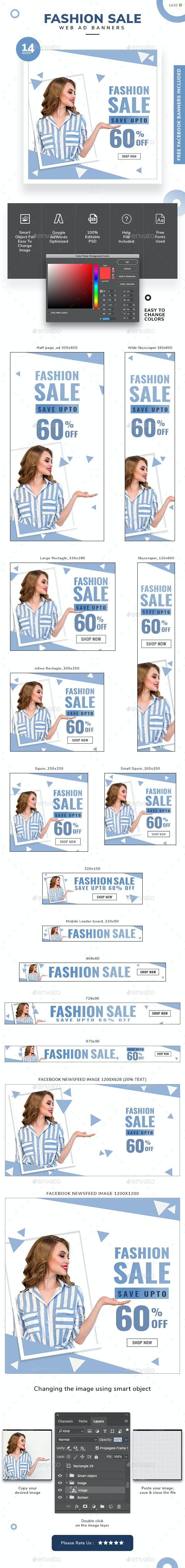 Fashion Sale Web Banner Set - Banners & Ads Web Elements