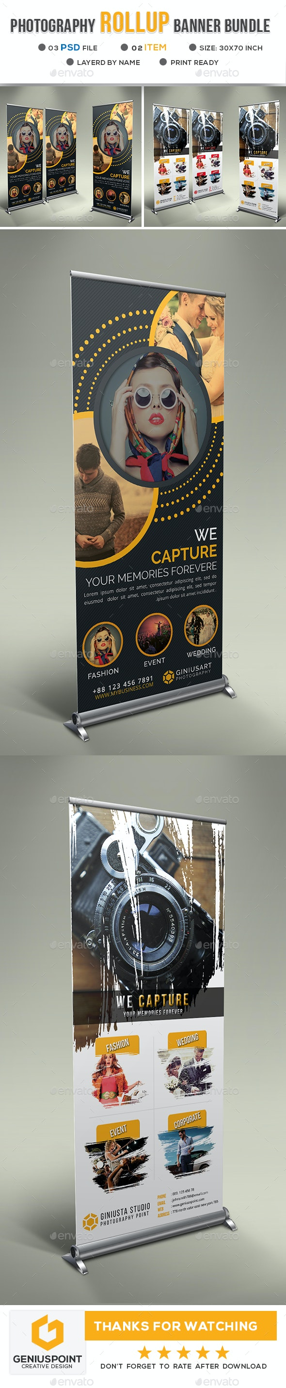 Photography Roll Up Banner Bundle - Signage Print Templates