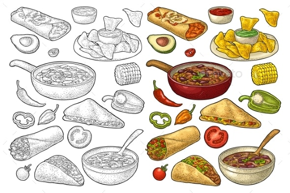 Mexican Traditional Food Set with Guacamole - Food Objects
