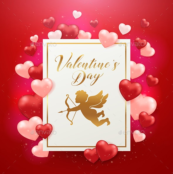 Valentine's Day Card with Cupid and Hearts - Valentines Seasons/Holidays