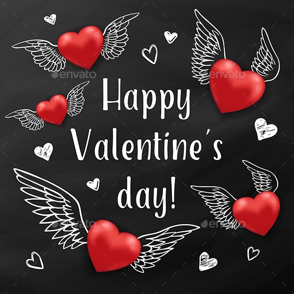 Flying Red Hearts on a Black Chalkboard - Valentines Seasons/Holidays