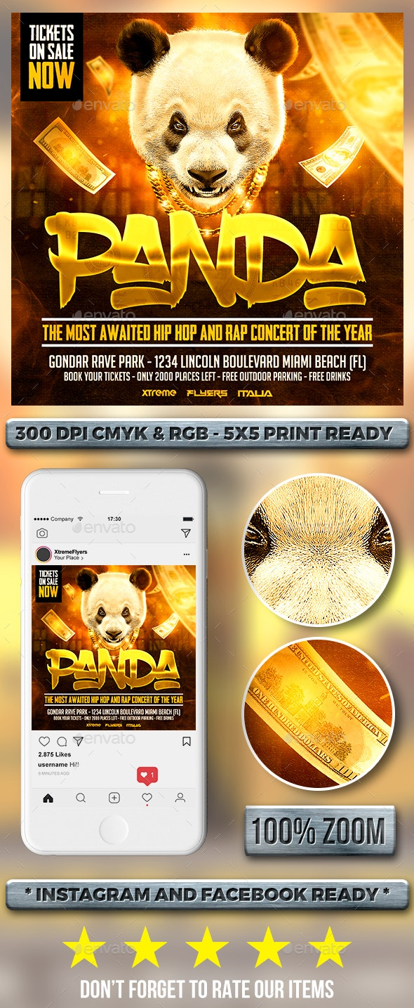 Panda Hip Hop Flyer - Clubs & Parties Events
