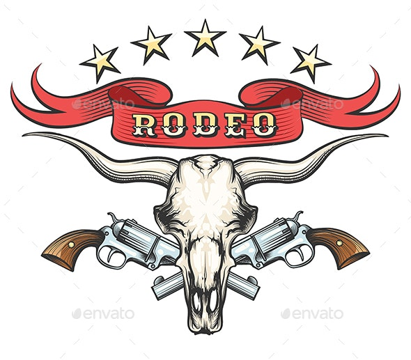 Rodeo Emblem With Bull Skull and Revolvers - Tattoos Vectors
