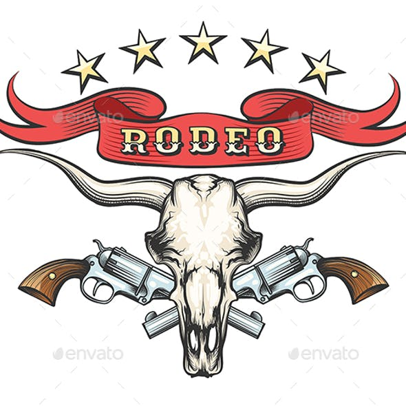 Rodeo Emblem With Bull Skull and Revolvers