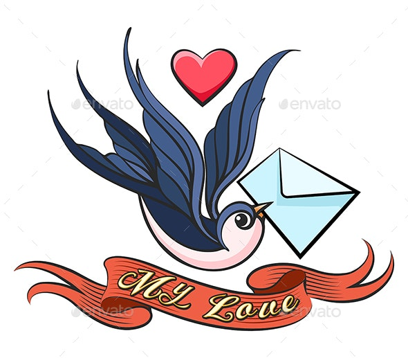 Swallow With Love Letter Tattoo - Tattoos Vectors