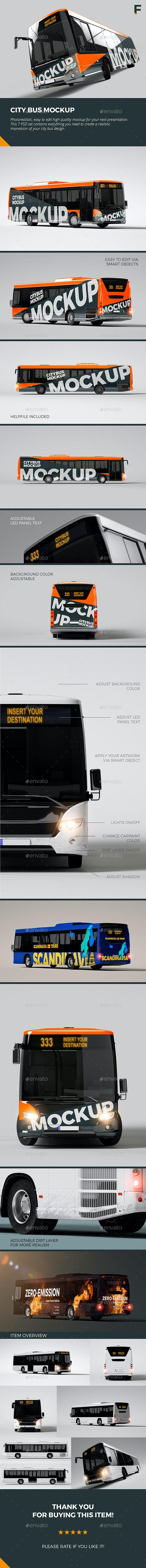 City Bus Mockup - Vehicle Wraps Print