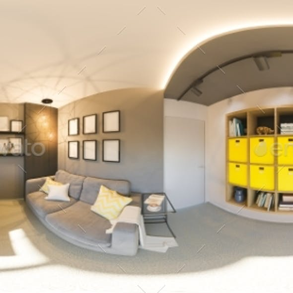 Seamless 360 Vr Home Office Panorama. 3d