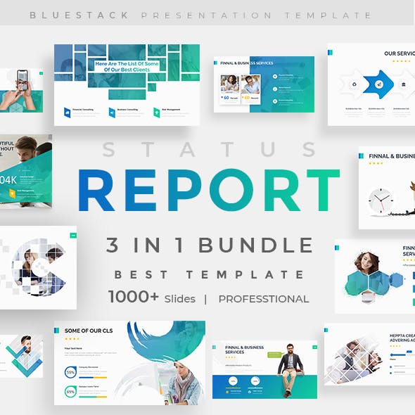 Status Report 3 in 1 Pitch Deck Bundle Powerpoint Template