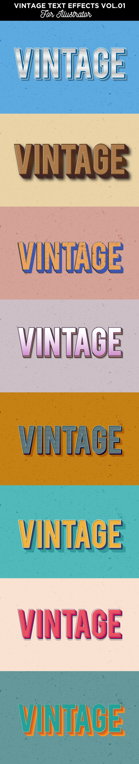 Vintage Text Effects for Illustrator - Styles Illustrator