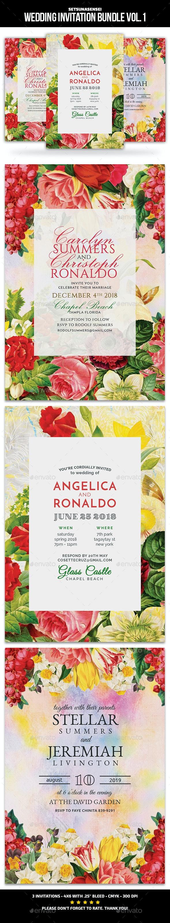 Wedding Invitation Bundle Vol. 1 - Cards & Invites Print Templates