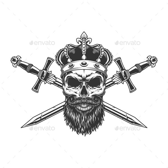 Bearded Skull in Crown - Miscellaneous Vectors