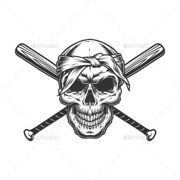 Gangster Skull in Bandanna - Miscellaneous Vectors