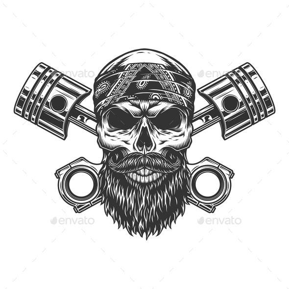 Bearded Biker Skull - Miscellaneous Characters