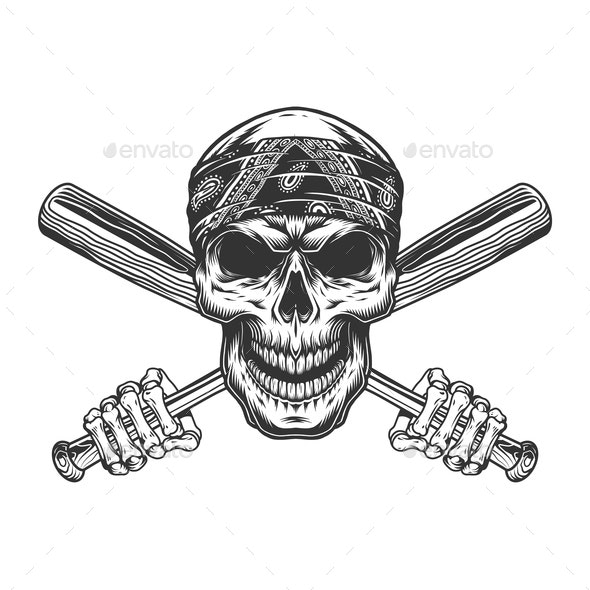 Bandit Skull in Bandanna - Miscellaneous Vectors