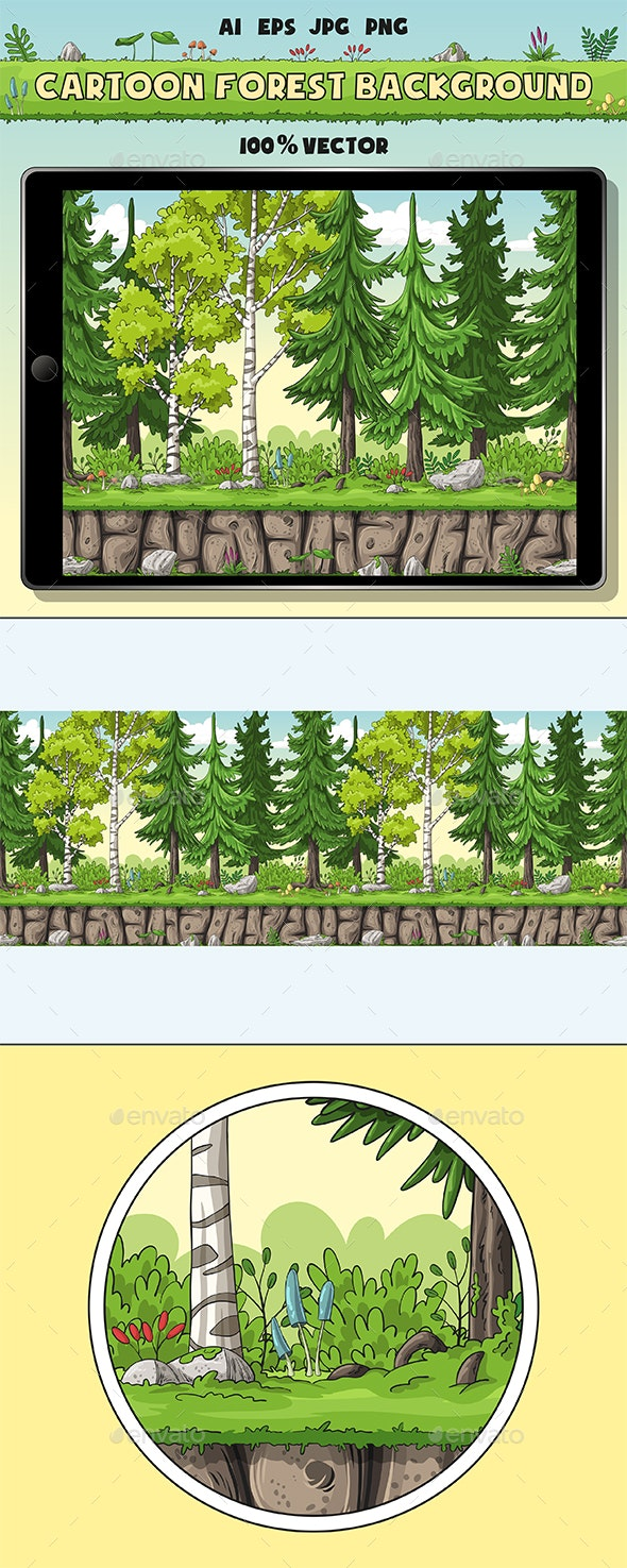 Seamless Cartoon Forest Background - Backgrounds Game Assets
