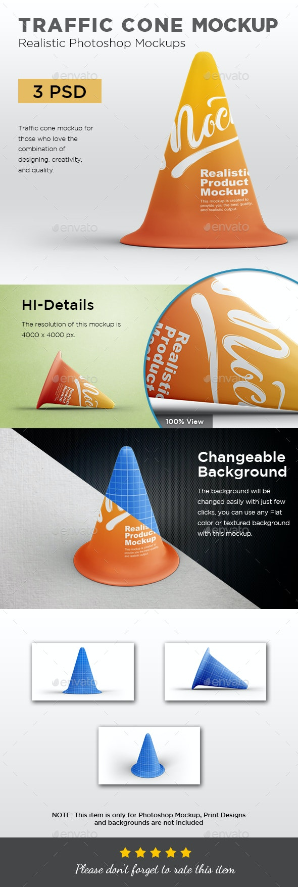 Traffic Cone Mockup - Product Mock-Ups Graphics